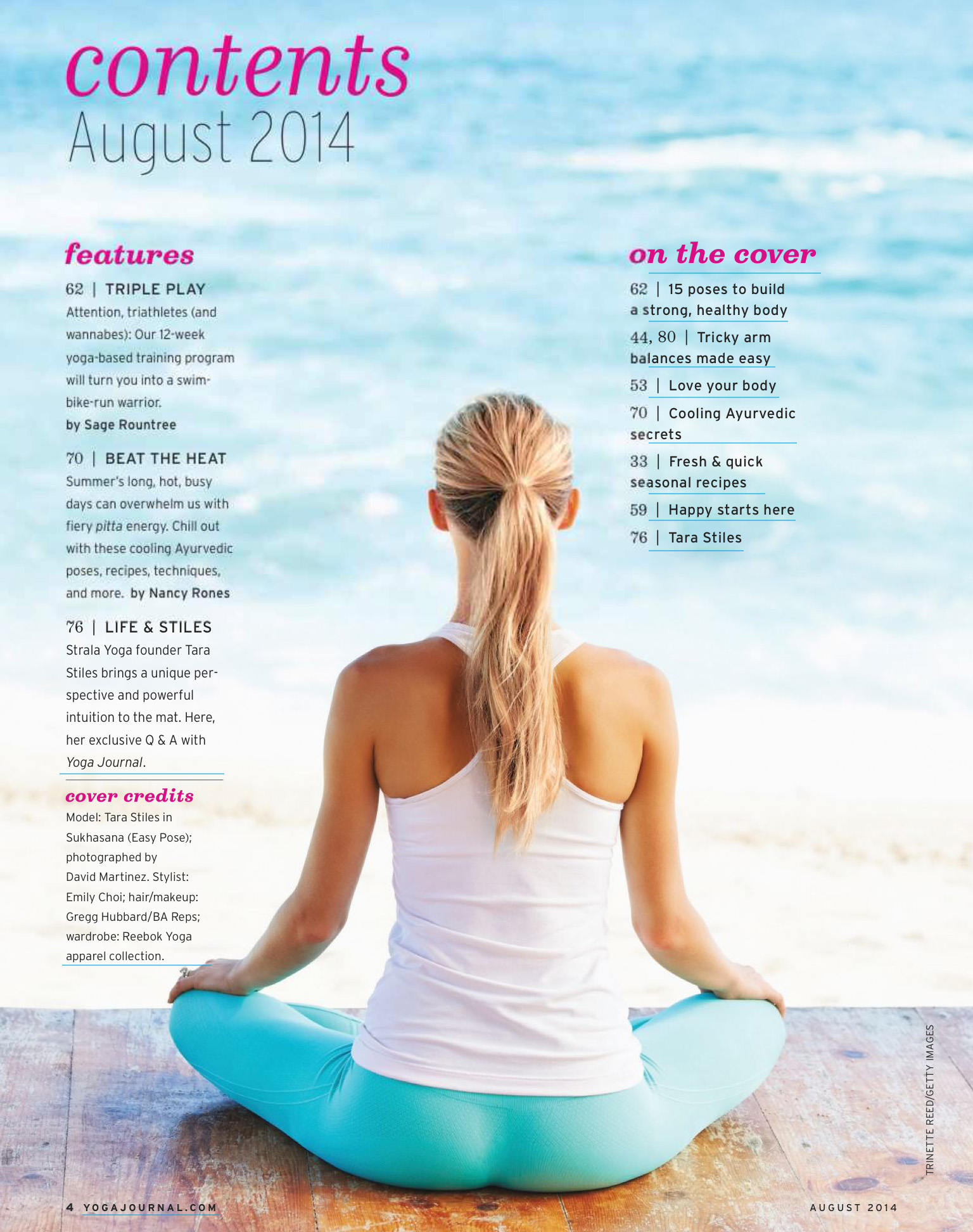 yoga journal contents page